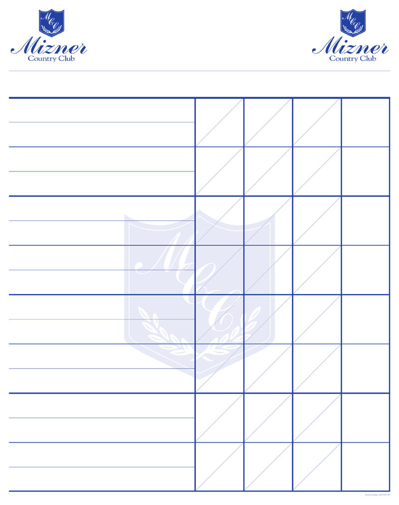 Custom Designed And Personalized Printed Golf Score Sheets